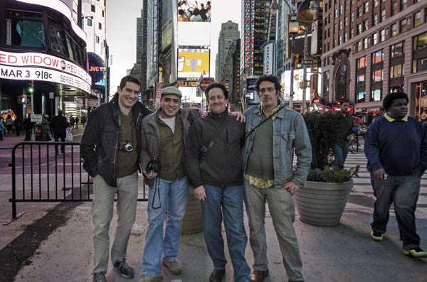 January 2013, Times Square, NYC The first meetup and group shoot of Observe. (Left to right) Chris Farling, Fadi Boukaram, David Horton, and Larry Cohen. Disclaimer: photograph taken by random stranger. Observe is not responsible for — nor does it endorse — the clipping of feet.